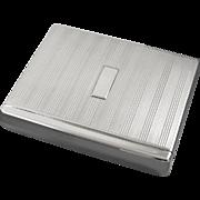 Scarce Flip Top Box style vintage Art Deco 1920s signed Battin sterling silver cigarette case / smoking / tobacciana / 5.5oz / business card case