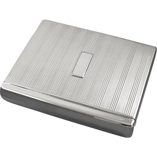 Scarce Flip Top Box style vintage Art Deco 1920s signed Battin sterling silver cigarette case / smoking / tobacciana / 5.5oz / business card case