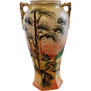 Vintage Royal Nishiki Japan hand painted bonsai tree porcelain ceramic vase urn with eared handles