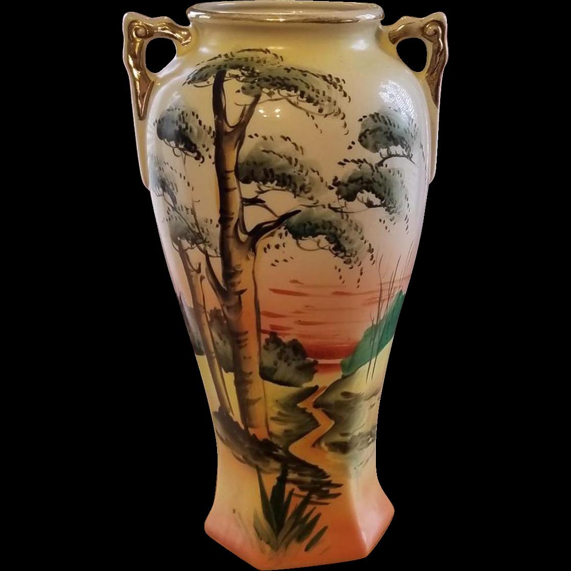 Vintage Royal Nishiki Japan hand painted bonsai tree porcelain ceramic vase urn with eared handles