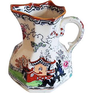 Antique Masons Ironstone China hand painted porcelain ceramic pitcher