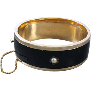 Antique mid Victorian 14k gold black taille d' epargne enamel pearl memento mori mourning wide hinged cuff bracelet / 40 grams / 1.42 ounce