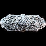 Antique Art Deco 14k white gold and platinum diamond filigree brooch pin folding bail converts to pendant