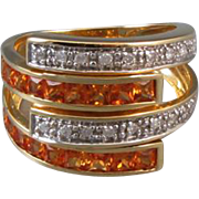 Modern estate 14k gold square cut channel set citrine and diamond wide bypass statement ring, size 8 (adjustable)
