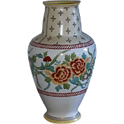 Large antique Nippon Japan hand painted marigolds porcelain ceramic vase urn