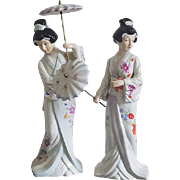 Pair of vintage signed FEI Collectors Edition Japanese hand painted geisha figurines umbrella / ceramic / pottery / Asian / Oriental / Japan