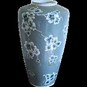 Stunning extra Large vintage mid century hand painted dog wood flowers porcelain ceramic floor vase urn signed Santa Clara Vigo MAH Espana