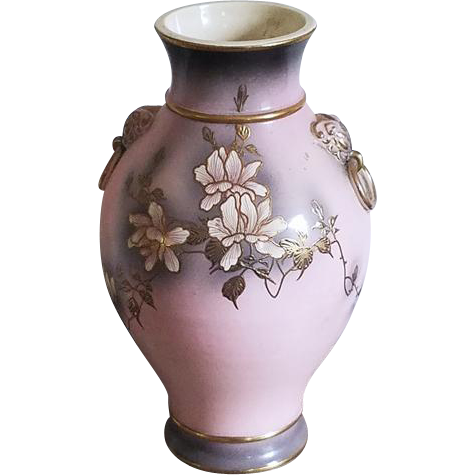 Lovely extra Large vintage mid century hand painted floral pink grey gold porcelain ceramic floor vase urn / eared ring doorknocker handles