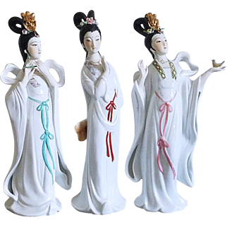Trio of vintage Asian hand painted Chinese very fine porcelain figurines / ceramic / pottery / China / Oriental