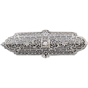 Antique Art Deco 10k white gold and platinum diamond filigree brooch pin