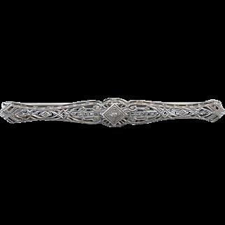 Antique Art Deco 14k white gold diamond filigree bar pin brooch