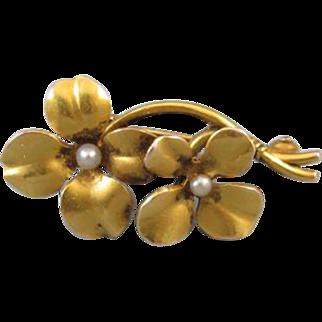Antique Edwardian Art Nouveau 14k bloomed gold seed pearl flower brooch pin