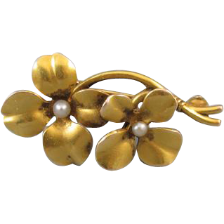 Antique Edwardian Art Nouveau 14k bloomed gold seed pearl flower brooch pin
