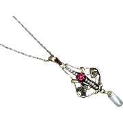 Antique Edwardian 10k gold filigree glass ruby paste and seed pearl lavalier pendant necklace signed Ostby & Barton