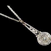 Antique Art Deco 10k gold mine cut diamond chevron and bullseye lavalier pendant necklace