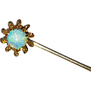 Antique Edwardian 10k gold opal sunburst rays stick pin / stickpin / lapel pin / tie pin / tie tack / brooch
