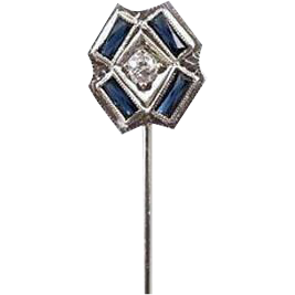 Vintage Art Deco 14k white gold European cut diamond and blue sapphire stick pin / stickpin / lapel pin / tie pin / tie tack / brooch