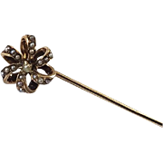 Antique Edwardian 10k rose gold seed pearl ribbon spiral love knot stick pin / stickpin / lapel pin / tie pin / tie tack / brooch