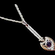 Antique Art Deco 10K gold purple amethyst long drop lavalier pendant necklace