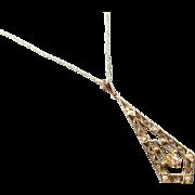 Antique Art Deco 10K gold diamond and seed pearl long drop lavalier pendant necklace