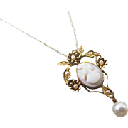 Antique Edwardian 10K gold pink shell cameo and seed pearl long drop lavalier pendant necklace