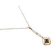 Antique Art Deco 10k gold purple amethyst and seed pearl lavalier pendant necklace signed Ostby & Barton