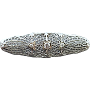 ntique Art Deco 14k white gold .22 carat diamond brooch pin with heart shaped filigree