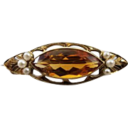 Antique Edwardian 14k gold marquise cut 2.78 carat citrine and seed pearl brooch pin / signed Day, Clark & Company