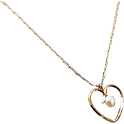 Delicate vintage mid century gold filled heart shaped seed pearl pendant necklace / signed Krementz