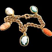 Antique Victorian 14k rose pink gold cameo hardstone sardonyx and coral charm bracelet