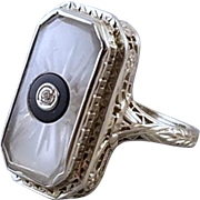 Vintage Art Deco 14k white gold filigree camphor glass black onyx and diamond ring signed Morris Rubin size 7.5