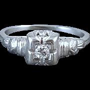 Vintage Art Deco 18k white gold .08 ct diamond engagement solitaire ring buckle detail size 7.5