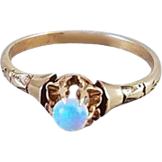 Antique Victorian 10k rose gold buttercup set opal solitaire ring size 6.5