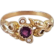 Antique Edwardian Art Nouveau 14k gold rhodolite garnet and seed pearl textured bark finish ring, size 6.5