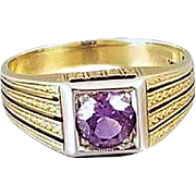 Antique Art Deco 14k gold purple amethyst ring, size 5.5 chaff of wheat engraving