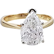 WITH APPRAISAL Modern estate 14k gold 1.93 carat pear shaped diamond engagement wedding bridal solitaire ring, size 7
