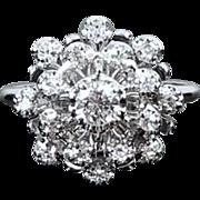 Vintage mid century estate 14k white gold .50 carat diamond halo ring size 6.5