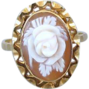 Vintage Italian 18k gold rose flower floral high relief shell cameo ring, size 6.5