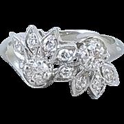 Vintage mid century estate 14k white gold .48 carat diamond sunburst bypass band ring size 6-3/4 signed Teitelman-Danziger, Inc.