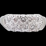 Vintage mid century estate 14k white gold 1 carat diamond two row wedding band ring size 8