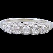 Vintage mid century estate 14k white gold .50 carat diamond two row wedding band ring size 6-1/2 signed Portrait