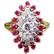 Modern estate 14k gold 1.20 carat ruby and diamond marquise navette statement ring, size 6-3/4