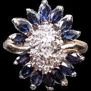 Modern estate 14k gold 1.30 carat blue sapphire marquise and diamond ballerina statement ring, size 7-1/4