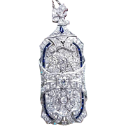Big and bold early Art Deco 1920s platinum 5 carat total weight diamond blue sapphire baguette convertible brooch pin pendant with 14k white gold chain