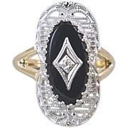 Vintage Art Deco 10k two tone white and yellow gold black onyx and diamond filigree ring signed Plainville Stock Company, size 6-1/4