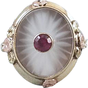 Vintage Art Deco 10k tri color gold camphor glass and synthetic ruby ring signed Hirsch & Oppenheimer, size 5