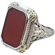 Vintage Art Deco 14k two tone white and yellow gold filigree carnelian ring, size 7.5, signed M.B. Bryant & Co.