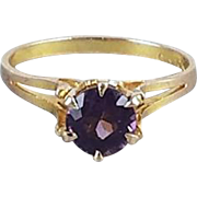 Antique Edwardian 10k gold purple amethyst solitaire ring signed Ostby Barton, size 7-1/4