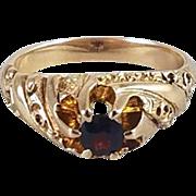 Antique Victorian 10k gold garnet solitaire gypsy belcher set ring, size 7