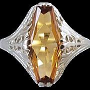 Vintage Art Deco 14k white gold filigree 1.65 ct citrine quartz elongated ring, size 8, signed Arnold & Steere